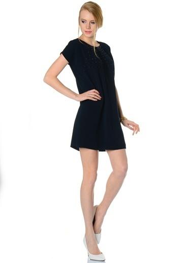 Limon Company Taşlı Bato Yaka Kısa Kollu Kadın Elbise Siyah